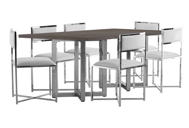 Amalfi White Wood Rectangular Table & 4 Metal Chairs