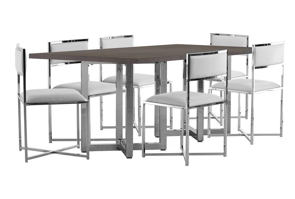 Amalfi WHITE WOOD Rectangular Table & 4 Metal Chairs,  (0)