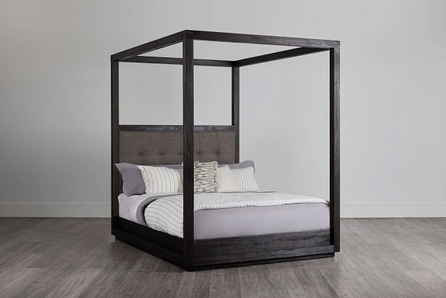 Madden Gray Fabric Canopy Bed (0)