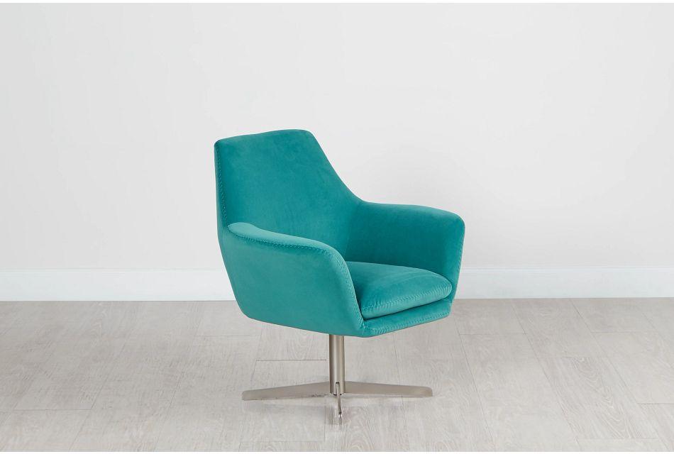 Xander Teal Velvet Swivel Accent Chair