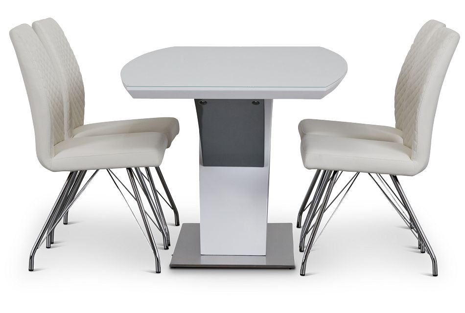 Lima White Table & 4 Upholstered Chairs,  (3)