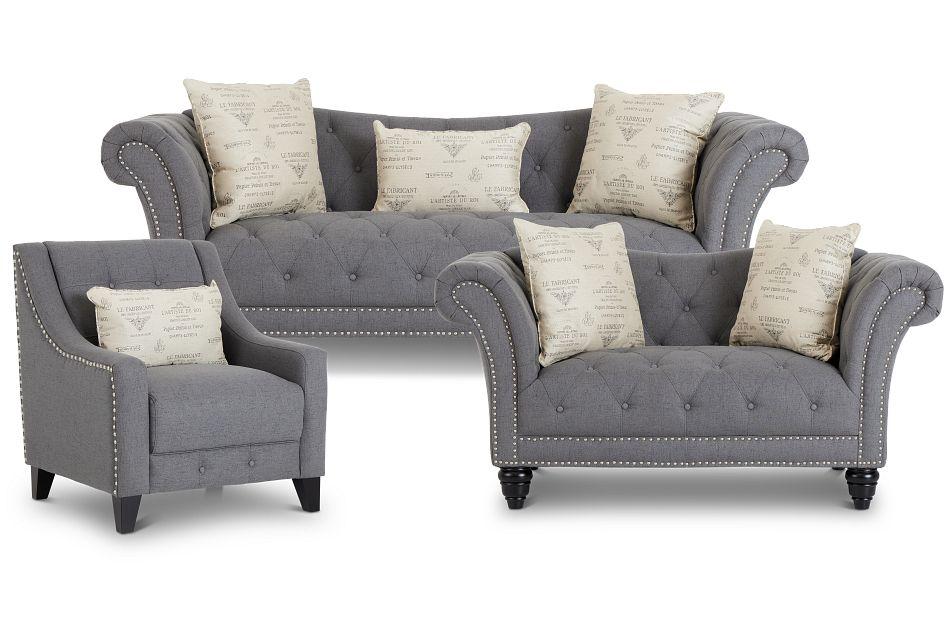 Hutton Dark Gray Fabric Living Room