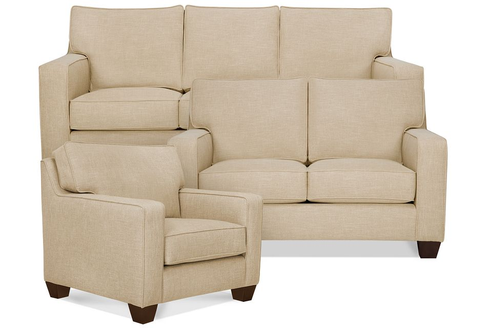 York Beige Fabric Living Room