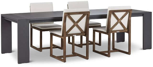 """Linear Dark Gray White 110"""" Aluminum Table & 4 Teak Cushioned Side Chairs (0)"""