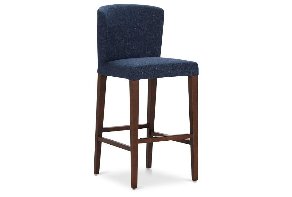"Bentley Dark Blue 30"" Upholstered Barstool"
