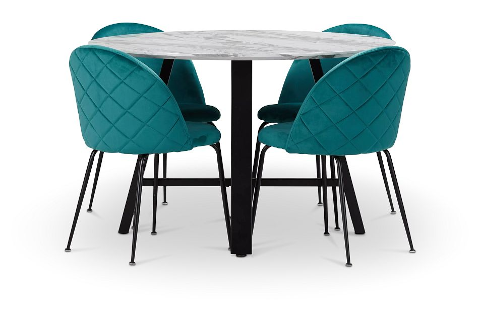 Capri Black Dk Taupe Round Table & 4 Upholstered Chairs