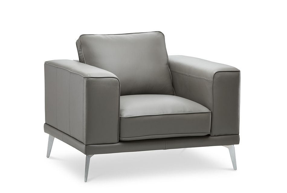 Naples Gray Leather Chair With Metal Legs