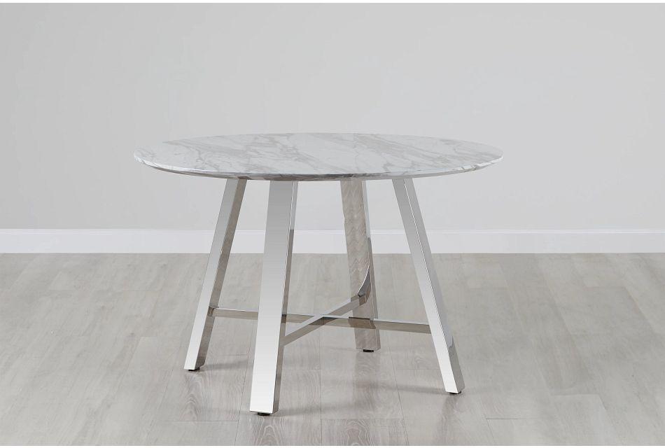 """Capri White 48"""" Round Table W/stainless Steel Legs"""