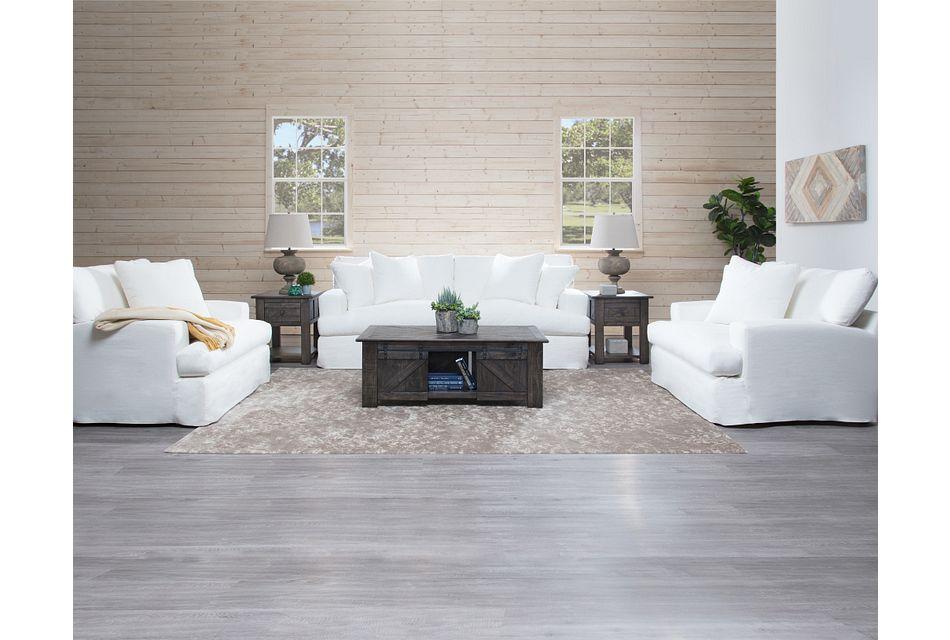 Delilah White Fabric Living Room,