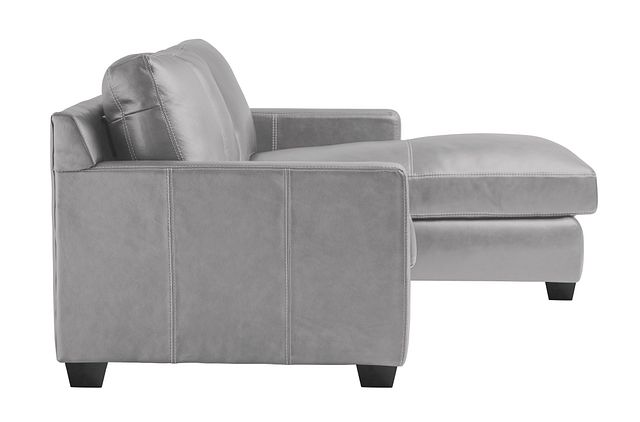 Carson Gray Leather Right Chaise Sectional (2)