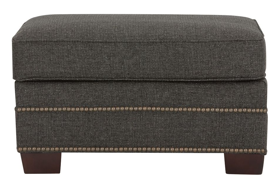 Foster Dark Brown Fabric Ottoman