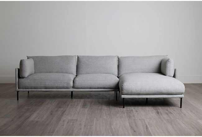 Oliver Light Gray Fabric Right Chaise Sectional