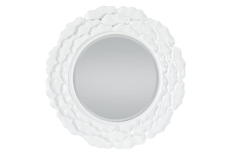 Casade White Round Mirror