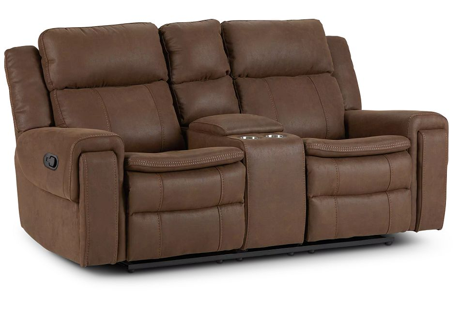 Scout Brown Micro Reclining Console Loveseat