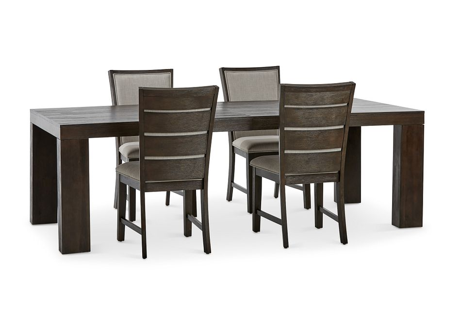 Grady DARK TONE RECT Table & 4 Upholstered Chairs