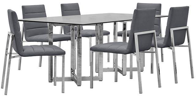 Amalfi Gray Glass Rectangular Table & 4 Upholstered Chairs (0)