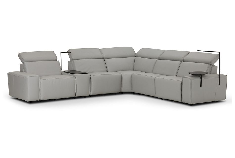 Carmelo Gray Leather Medium Triple Power Sectional W/right Table &light
