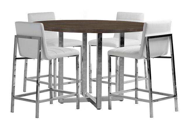 Amalfi White Wood High Table & 4 Upholstered Barstools (0)