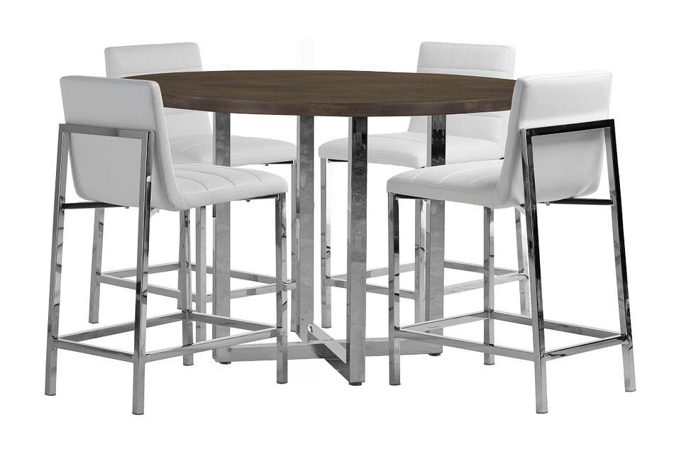 Amalfi White Wood High Table & 4 Upholstered Barstools