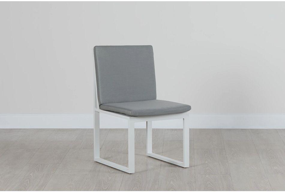 Linear White Dark Gray Aluminum Cushioned Chair