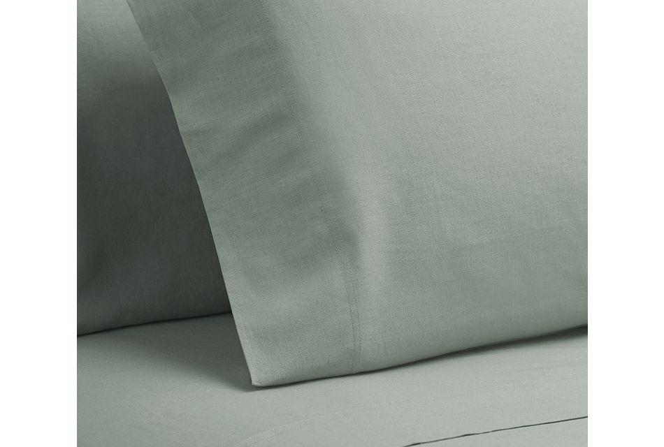 Linen Blend Blue Set Of 2 Pillowcases