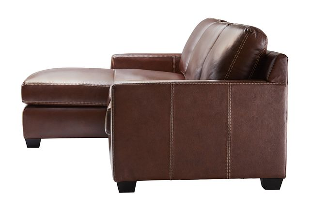 Carson Medium Brown Leather Small Left Chaise Sectional (2)