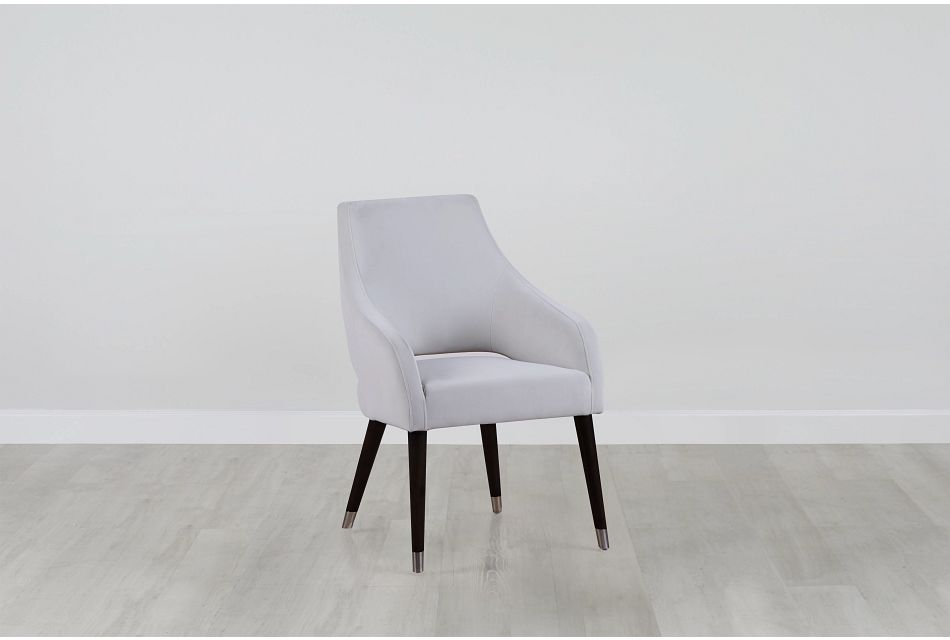 Naveen Pewter Velvet Upholstered Arm Chair