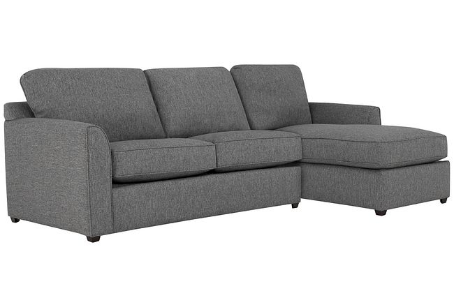 Asheville Gray Fabric Right Chaise Sectional