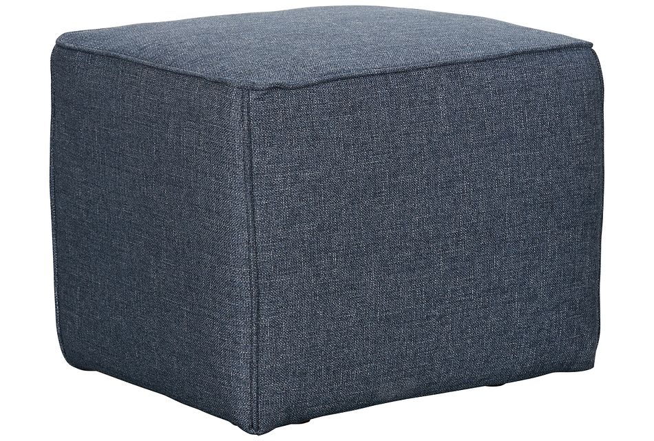 Harper Dark Blue Fabric Accent Pouf
