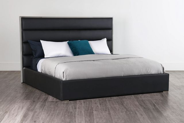 Cortina Black Uph Platform Bed (2)