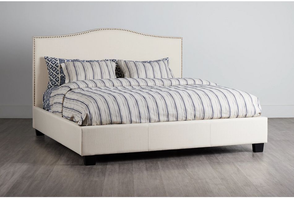 Dawson Beige Uph Platform Bed, King (0)