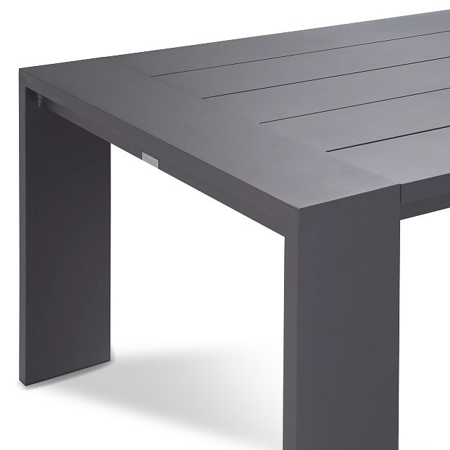 """Linear Dark Gray White 110"""" Aluminum Table & 4 Cushioned Side Chairs (3)"""