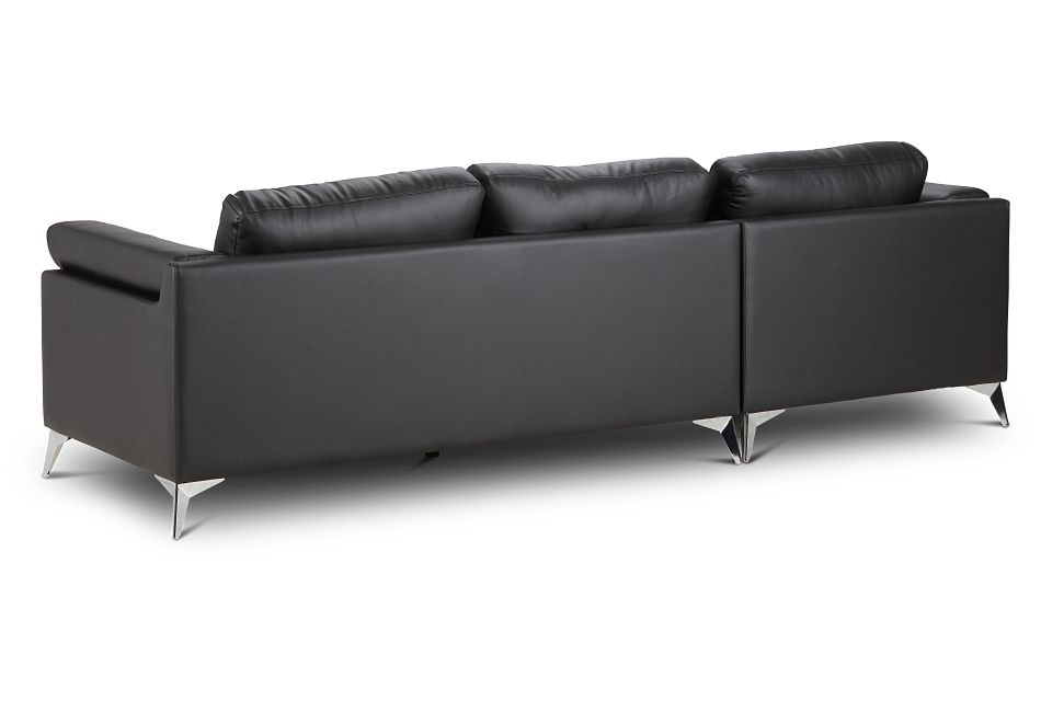 Gianna Black Micro Left Chaise Sectional