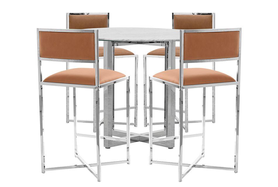 Amalfi Brown Marble High Table & 4 Metal Barstools