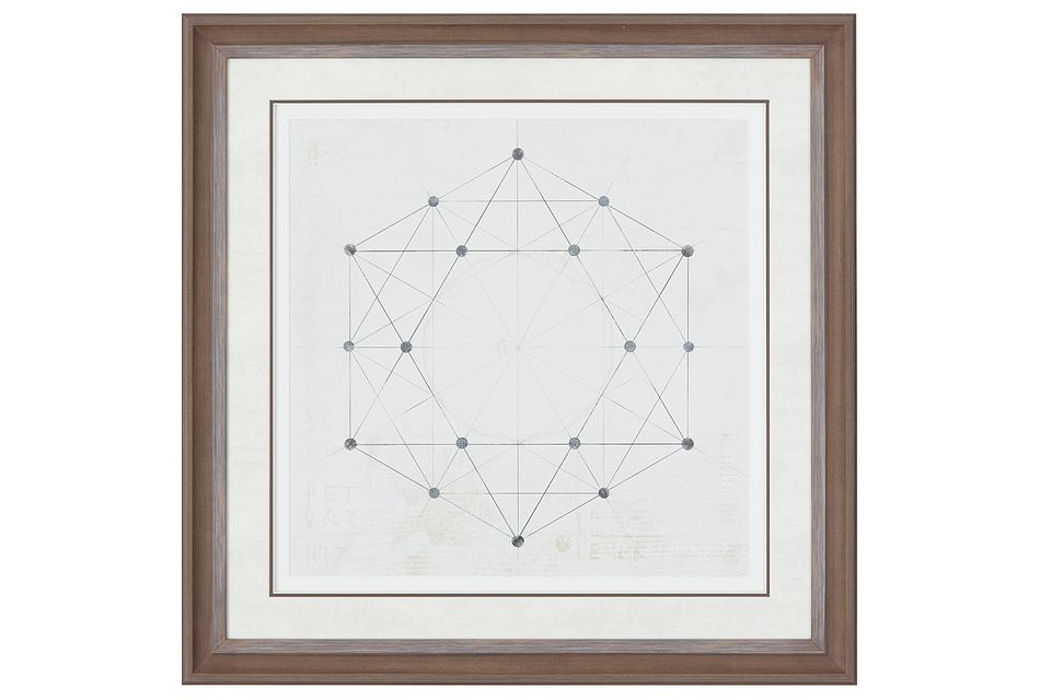 Hexagon Beige Framed Wall Art
