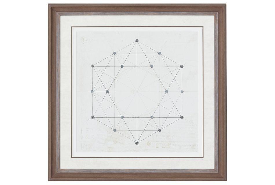 Hexagon Beige Framed Wall Art