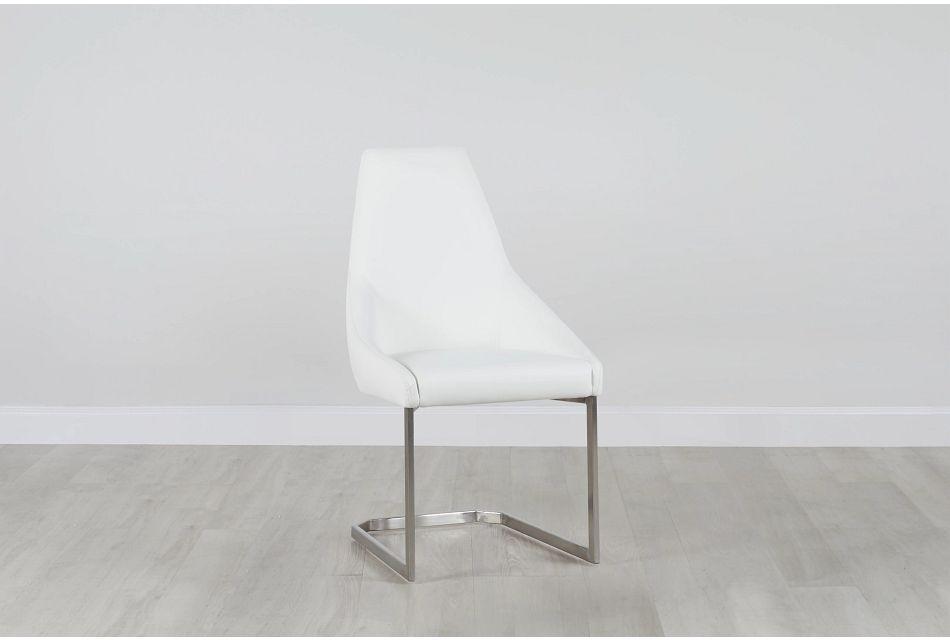 Monaco White Upholstered Side Chair