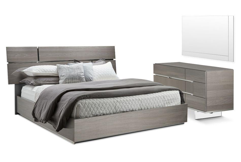 Athena Dark Gray Platform Bedroom