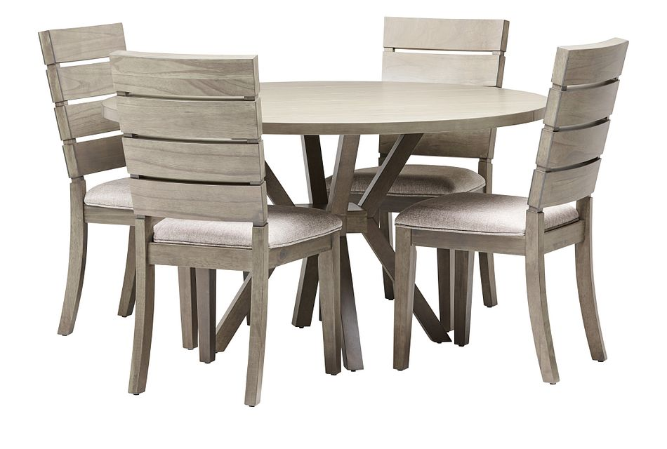 Sienna Gray Round Table & 4 Slat Chairs
