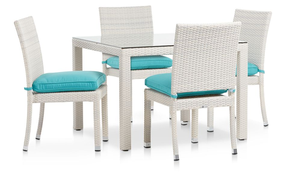 """Bahia Dark Teal 40"""" Square Table & 4 Upholstered Chairs"""