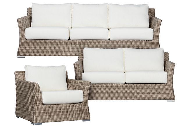 Raleigh White Woven Outdoor Living Room Set