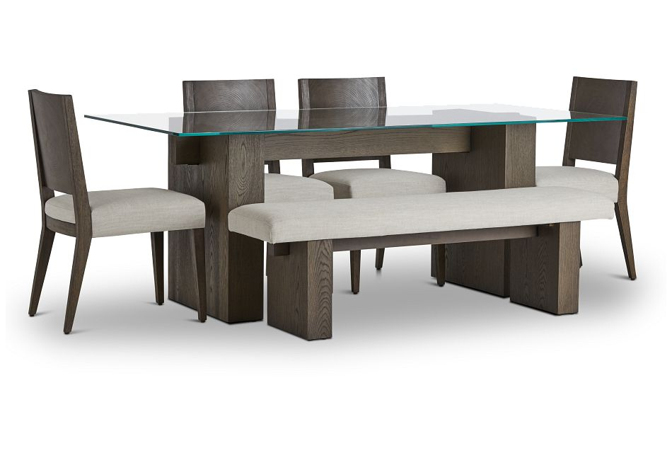 Oakland Dark Tone Glass Table, 4 Chairs & Bench,  (1)