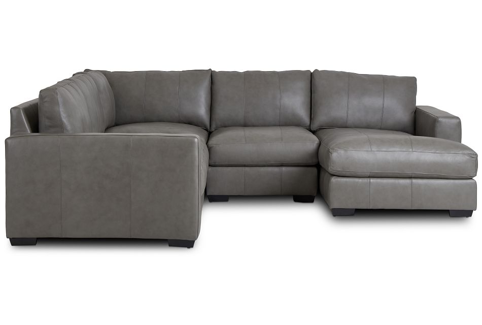 Dawkins Gray Leather Medium Right Chaise Sectional,  (1)