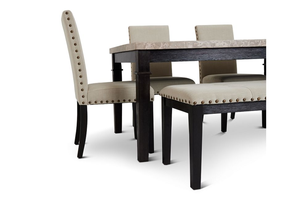 Portia Dark Tone Marble Table, 4 Chairs & Bench