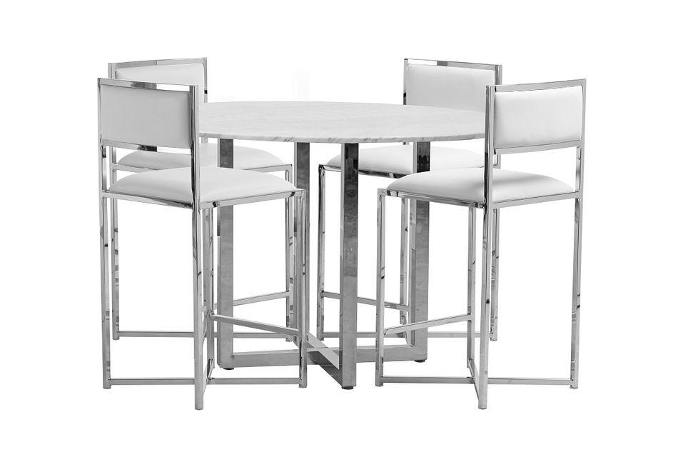 Amalfi White Marble High Table & 4 Metal Barstools