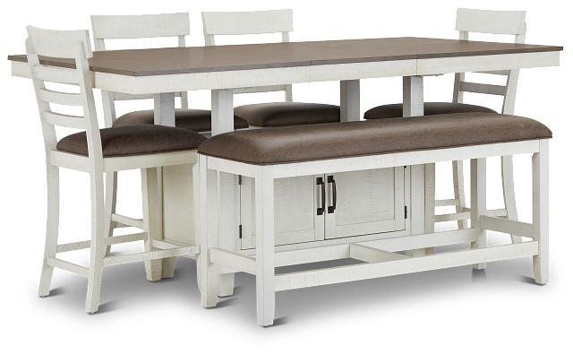 Huntsville Two-tone Rect High Table, 4 Barstools & High Bench (2)