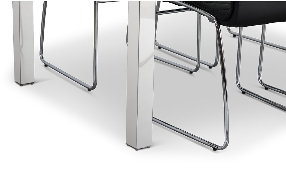 Skyline Black Rect Table & 4 Metal Chairs