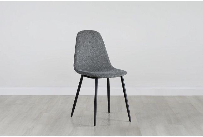 Havana Dark Gray Upholstered Side Chair W/ Black Legs