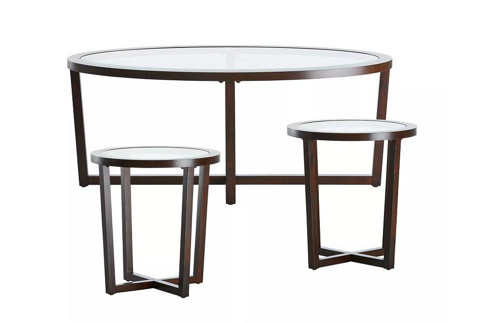 Sadie Dark Tone Glass 3 Pack Tables