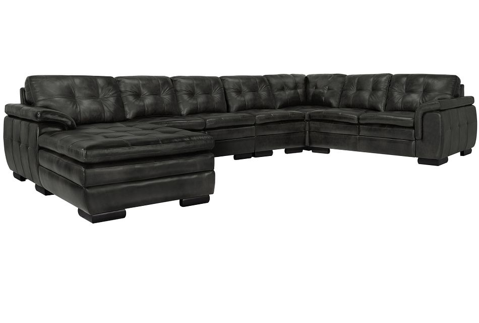Trevor Dark Gray Leather Large Left Chaise Sectional